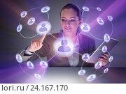 Купить «Woman in social networks concept», фото № 24167170, снято 17 июля 2018 г. (c) Elnur / Фотобанк Лори