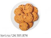 Овсяное печенье в белой тарелке. Стоковое фото, фотограф Евгений Пидеркин / Фотобанк Лори