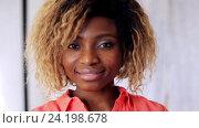 Купить «happy smiling african american young woman face», видеоролик № 24198678, снято 6 ноября 2016 г. (c) Syda Productions / Фотобанк Лори