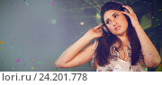 Купить «Composite image of pretty female disco jockey listening music on headphone», фото № 24201778, снято 17 декабря 2018 г. (c) Wavebreak Media / Фотобанк Лори