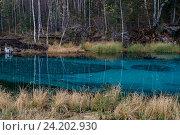 Купить «Небольшое голубое озеро в горах Алтая, Россия», фото № 24202930, снято 27 сентября 2016 г. (c) Liseykina / Фотобанк Лори