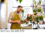 Купить «smiling florist man making bunch at flower shop», фото № 24206970, снято 27 марта 2016 г. (c) Syda Productions / Фотобанк Лори