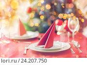 Купить «room with christmas tree and decorated table», фото № 24207750, снято 10 сентября 2014 г. (c) Syda Productions / Фотобанк Лори