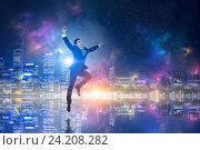 Купить «Businessman celebrating success . Mixed media», фото № 24208282, снято 12 марта 2014 г. (c) Sergey Nivens / Фотобанк Лори