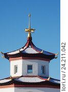 Купить «Агинский дацан. Детали архитектуры», эксклюзивное фото № 24211042, снято 8 января 2016 г. (c) Валерий Лаврушин / Фотобанк Лори