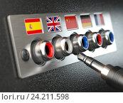 Купить «Select language. Learning, translate languages or audio guide concept. Audio input output control panel with flags and plug.», фото № 24211598, снято 15 июля 2019 г. (c) Maksym Yemelyanov / Фотобанк Лори