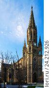 Day view of Cathedral of San Sebastian. Basque Country, Spain (2016 год). Редакционное фото, фотограф Яков Филимонов / Фотобанк Лори