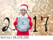 Купить «Happy Girl Holding Clock on Blurry Background Composite», фото № 24218298, снято 10 июля 2020 г. (c) Wavebreak Media / Фотобанк Лори