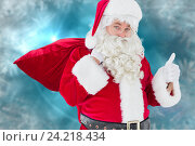 Купить «Santa clause walking with sack and bell against christmas background», фото № 24218434, снято 26 мая 2018 г. (c) Wavebreak Media / Фотобанк Лори