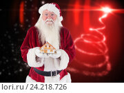 Купить «Portrait of santa clause holding toy house», фото № 24218726, снято 26 мая 2018 г. (c) Wavebreak Media / Фотобанк Лори