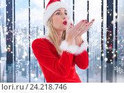 Купить «Woman in santa costume blowing imaginary snow flakes», фото № 24218746, снято 16 сентября 2019 г. (c) Wavebreak Media / Фотобанк Лори