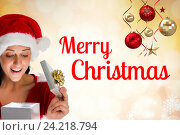 Купить «Surprised Girl and Christmas Message on Blurry Background Design», фото № 24218794, снято 10 июля 2020 г. (c) Wavebreak Media / Фотобанк Лори