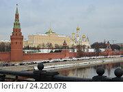 Купить «Московский Кремль, Москва-река, Кремлевская набережная», эксклюзивное фото № 24220078, снято 14 ноября 2016 г. (c) lana1501 / Фотобанк Лори