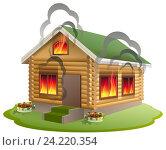 Купить «Деревянный дом горит в огне. Пожар», иллюстрация № 24220354 (c) Алексей Григорьев / Фотобанк Лори