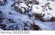 Купить «Река в снежном лесу, Черногория», видеоролик № 24223022, снято 21 января 2016 г. (c) Иван Кузнецов / Фотобанк Лори