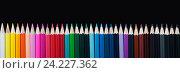Цветные карандаши на темном фоне. Панорама. Стоковое фото, фотограф Виталий Федоров / Фотобанк Лори