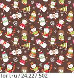 Купить «Праздничный бесшовный фон со снеговиками», иллюстрация № 24227502 (c) Миронова Анастасия / Фотобанк Лори