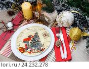 Купить «Новогодняя и Рождественская сервировка стола», фото № 24232278, снято 17 ноября 2016 г. (c) Татьяна Ляпи / Фотобанк Лори