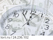 Купить «clock over money with double exposure», фото № 24236102, снято 25 мая 2013 г. (c) Syda Productions / Фотобанк Лори