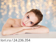 Купить «beautiful young woman face and hands», фото № 24236354, снято 14 апреля 2016 г. (c) Syda Productions / Фотобанк Лори