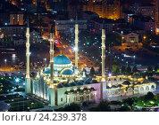 Купить «Грозный. Центральная мечеть Сердце Чечни имени Ахмата Кадырова. Вид с крыши», эксклюзивное фото № 24239378, снято 20 сентября 2016 г. (c) Литвяк Игорь / Фотобанк Лори