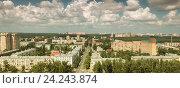 Купить «Подмосковная Балашиха, реконструкция трассы М7 и вид на Советскую улицу, панорама из трёх кадров», эксклюзивное фото № 24243874, снято 29 мая 2016 г. (c) Дмитрий Неумоин / Фотобанк Лори