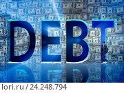 Купить «Businessman in debt business concept», фото № 24248794, снято 20 сентября 2019 г. (c) Elnur / Фотобанк Лори