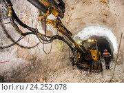 Купить «Добыча золотоносной руды под землей в шахте», фото № 24252078, снято 13 ноября 2016 г. (c) Mark Agnor / Фотобанк Лори