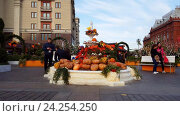 Купить «Moscow, Russia - November 09. 2016. Moscow Autumn - gastronomic festival in Manezh Square», видеоролик № 24254250, снято 9 октября 2016 г. (c) Володина Ольга / Фотобанк Лори