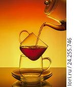 Прозрачные стеклянная чашка и чайник с горячим чаем. Стоковое фото, фотограф Анастасия Богатова / Фотобанк Лори