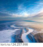 Купить «Top view of forest river in winter», фото № 24257998, снято 20 января 2011 г. (c) Владимир Мельников / Фотобанк Лори