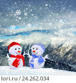Christmas snowmans in mountains. Стоковое фото, фотограф ElenArt / Фотобанк Лори