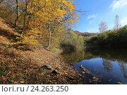 Купить «Осенний лес и озеро», эксклюзивное фото № 24263250, снято 20 октября 2016 г. (c) Яна Королёва / Фотобанк Лори
