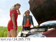 Купить «women with open hood of broken car at countryside», фото № 24265778, снято 28 мая 2016 г. (c) Syda Productions / Фотобанк Лори
