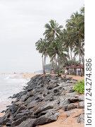 Купить «Каменистый тропический пляж с пальмами», фото № 24274886, снято 1 ноября 2009 г. (c) Эдуард Паравян / Фотобанк Лори