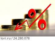 Купить «Красный знак процента на фоне денег », фото № 24280078, снято 22 октября 2016 г. (c) Сергеев Валерий / Фотобанк Лори