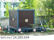 Купить «Трансформаторная  электрическая подстанция», фото № 24280694, снято 19 февраля 2014 г. (c) Сергеев Валерий / Фотобанк Лори