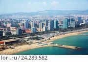 Купить «Aerial view of Residence district at Mediterranean city. Barcelona», фото № 24289582, снято 8 июля 2016 г. (c) Яков Филимонов / Фотобанк Лори