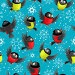 Бесшовный фон с синицами и снегирями на синем фоне со снежинками, иллюстрация № 24296466 (c) Наталья Загорий / Фотобанк Лори