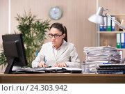 Купить «Businesswoman working in the office», фото № 24303942, снято 10 июня 2016 г. (c) Elnur / Фотобанк Лори