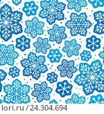 Купить «Бесшовный фон со снежинками», иллюстрация № 24304694 (c) Евгения Малахова / Фотобанк Лори