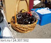 Купить «Корзина со старомодными солнцезащитными очками», фото № 24307502, снято 31 июля 2016 г. (c) Павел Кулинич / Фотобанк Лори