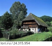 Купить «Germany, Black Forest, farmhouse, Europe, South Germany, house, residential house, Black Forest house, hipped roof, thatched roof, reetgedeckt, garden, vegetable garden, summer», фото № 24315954, снято 19 сентября 2001 г. (c) mauritius images / Фотобанк Лори