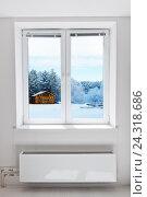 Зимний пейзаж через окно. Стоковое фото, фотограф Валерия Лузина / Фотобанк Лори