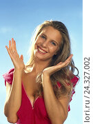 Купить «Woman, applaud, happy, gesture, applause, half portrait, outside, young, enthusiastically, enthusiasm, enthusiastically, joy, clap, applause, approval», фото № 24327002, снято 13 сентября 2001 г. (c) mauritius images / Фотобанк Лори