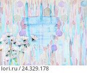 Живописный акварельный цветочный фон с букетом ромашек. Стоковое фото, фотограф Бережная Татьяна / Фотобанк Лори