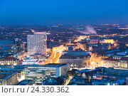 Купить «Architecture, outside view, from above, blue hour, Saxon, Leipzig, Germany, Europe», фото № 24330362, снято 22 января 2016 г. (c) mauritius images / Фотобанк Лори