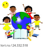 Африканские дети с книгами и карта мира, концепция образования, Иллюстрация. Стоковая иллюстрация, иллюстратор Бережная Татьяна / Фотобанк Лори