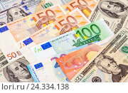 Background of different currency. Euro banknotes and american dollars, фото № 24334138, снято 5 декабря 2016 г. (c) FotograFF / Фотобанк Лори