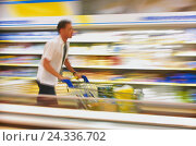 Купить «Man, shopping, supermarket, shopping cart, blur, loading, food store, business, knowledge, young, single, inside, motion, purchasing, carriage, push, haste, in of a great hurry, chill shelf, lifestyle», фото № 24336702, снято 14 ноября 2001 г. (c) mauritius images / Фотобанк Лори